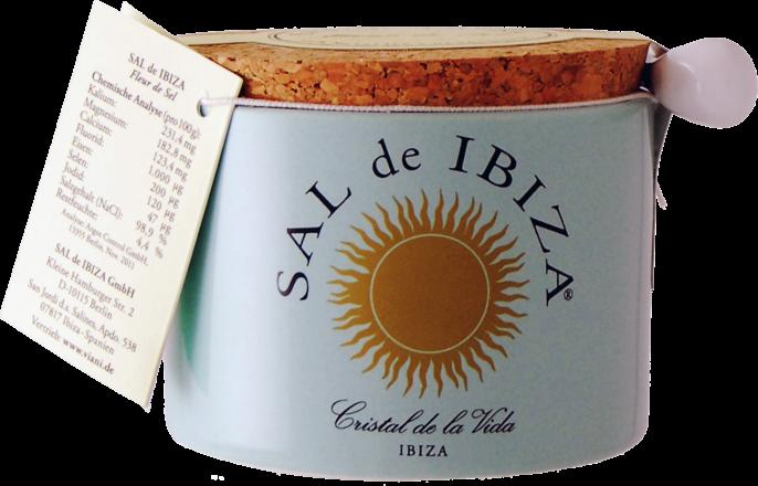 Sal de Ibiza - Fleur de Sel - Tontöpfchen mit Porzellanlöffelchen, 150 g